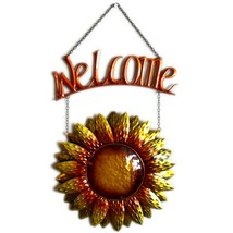 Metal & Glass Orange Yellow Fall Colors Hanging Sunflower Welcome Sign Decor image 1