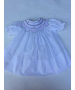 Sweet Angela by Rosalina Smocked Dress 3 Months White Pink Flowers - $19.79