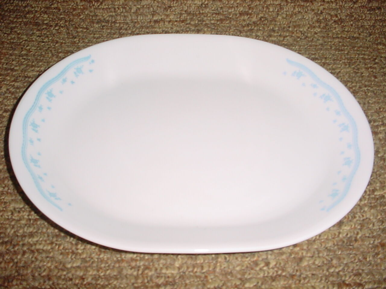 Primary image for CORELLE MORNING BLUE 12.25 INCH OVAL SERVING PLATTER GENTLY USED FREE USA SHIP