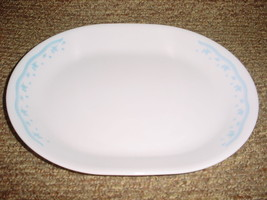 CORELLE MORNING BLUE 12.25 INCH OVAL SERVING PLATTER GENTLY USED FREE US... - $18.69