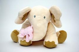 "Animal Alley Large 16"" Plush Cream Tan Elephant W/ Pink Baby Toy Stuffed... - $24.74"