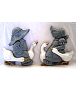 Vintage Burwood 3D Country Boy & Girl with Geese 2 piece Wall Hangings - $19.99
