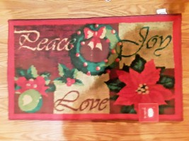 Trim A Home Christmas Holiday Peace Love Joy Doormat Nonskid  microfiber... - $16.82
