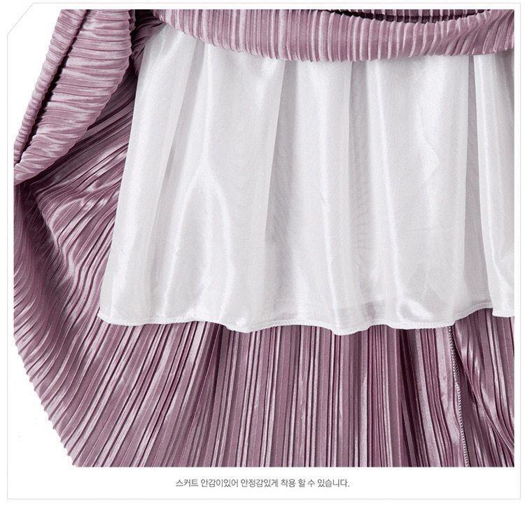 Silver Gold Pleated Skirt Vintage High Waist Long Metallic image 5