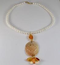 Collar de Oro Amarillo 18KT con Perlas Blancas Nácar Perforado y Ámbar image 1