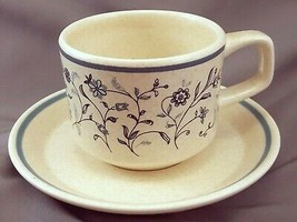 Lenox Blue Breeze Coffee Tea Cup and Saucer 8 oz Speckled Temperware Sto... - $7.92