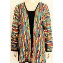 COOGI-sweater-SZ-M-100-silk-cardigan-brilliant-colorful lightweight image 8