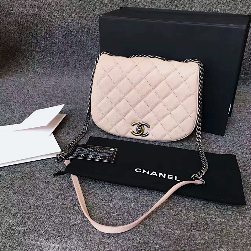 AUTHENTIC CHANEL 2017 PINK QUILTED CAVIAR 2 WAY FLAP BAG NEW