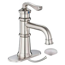 Homevacious Bathroom Faucet Brushed Nickel Single Handle Waterfall Long Goose-ne