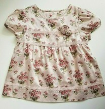 Janie and Jack Girls Top Blouse Pink Short Sleeve Floral Size 4T NWT - $24.99