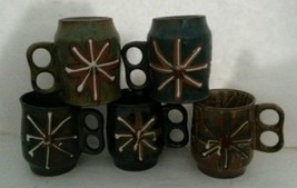 Mid Century Atomic Starburst Coffee Mug Terracotta Set Of 5 Handmade Dou... - $90.38