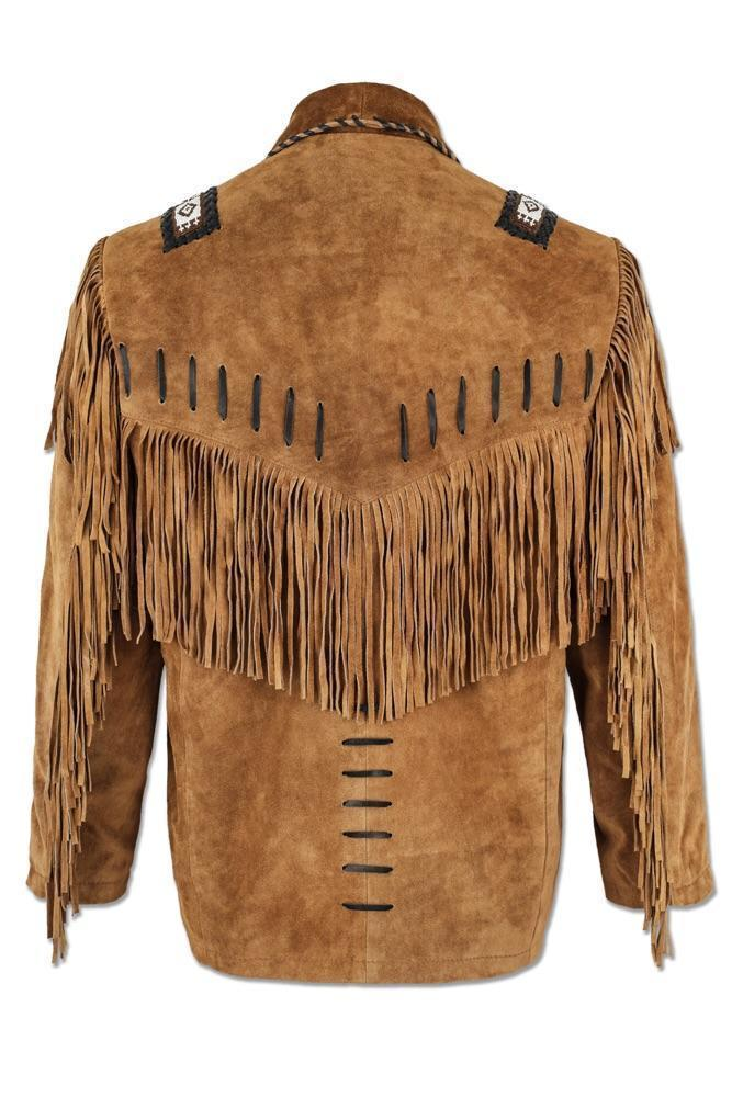 Men's New Native American Brown Buffalo Suede Leather Coat Fringes & Beads FJ112