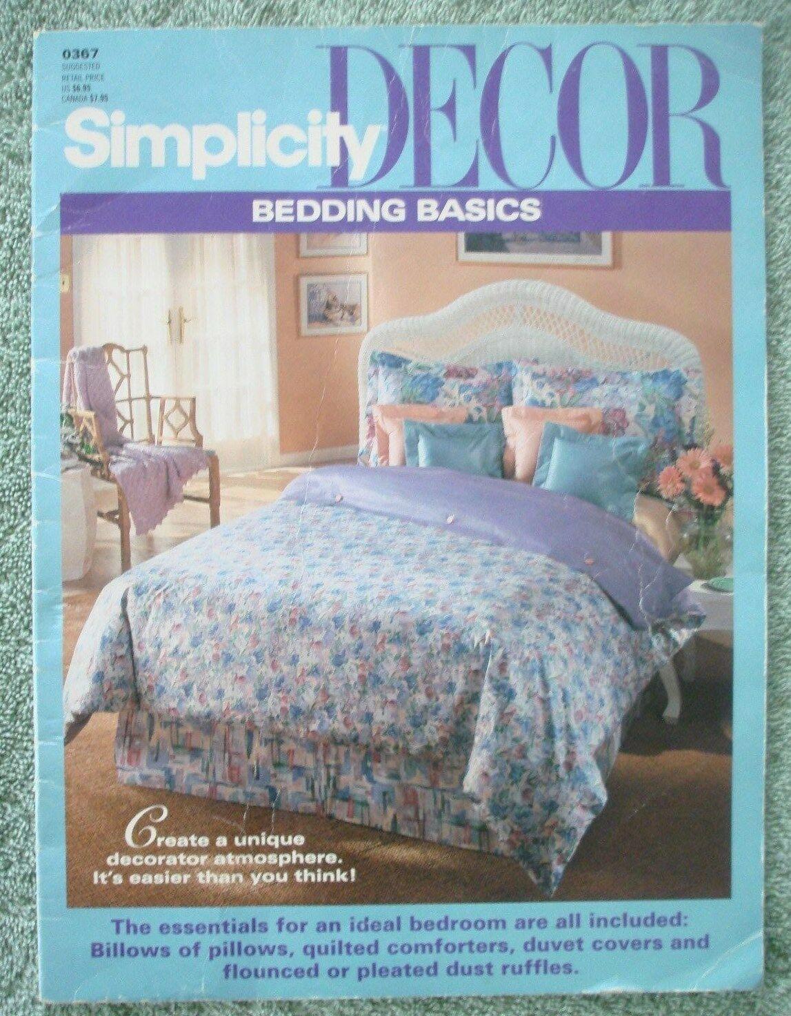 Vtg 1993 Simplicity DECOR Bedding Basics Instructional Pillows Comforters Duvets
