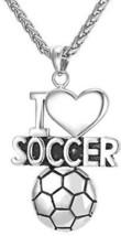 U7 I Love Soccer Ball Pendant Necklace Stainless Steel Boys Gift Sport Fan Team - $30.40