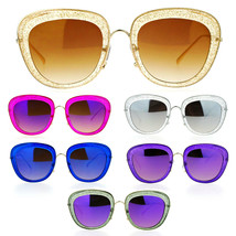 SA106 Womens Double Frame Gel Glitter Plastic Butterfly Sunglasses - $9.85+