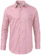 Men's Solid Long Sleeve Formal Button Up Standard Barrel Cuff Dress Shirt image 15