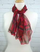 Vera Neumann 100% Silk Lightweight Scarf - Pink & Red Black Plaid Check ... - $24.26