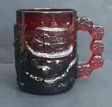 Vtg Arcoroc Ruby Red Glass Snowman Mug Coffee Cup Snowflakes Winter Holiday - $16.82