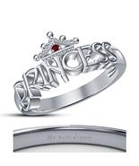 Women's Disney Princess Ariel Crown Ring Brilliant Red Garnet 14k Platin... - $50.33