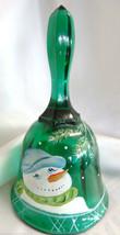 Fenton Art Glass Hp Snowman Emerald Green Rib Bell New 666209 - $55.00