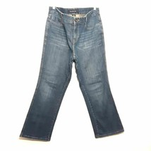 CALVIN KLEIN womens jeans size 14 blue green Lean Boot cut whiskered but... - $39.99