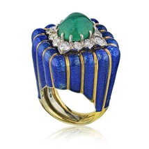 David Webb Blue Enamel and Green Cabochon Emerald Diamond Rhombus Ring s... - $28,500.99