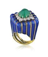 David Webb Blue Enamel and Green Cabochon Emerald Diamond Rhombus Ring s... - $28,500.99