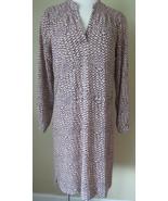 Daniel Rainn Black and Blush Print V Neck Dress Long Sleeved Drawstring ... - $18.55