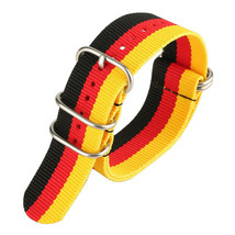 20mm Nato Canvas Solid Rings [No Springbar] Nylon watch strap BLACK RED YELLOW - $14.99