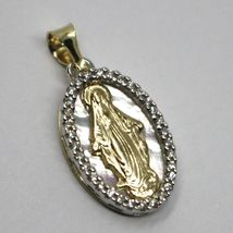 18K YELLOW WHITE GOLD MEDAL, VIRGIN MARY, MIRACULOUS, MOTHER OF PEARL, ZIRCONIA image 3