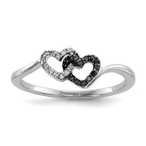Sterling Silver Black & White Diamond Heart Ring - $169.99