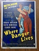 *WHERE DANGER LIVES (1950) Film-Noir Robert Mitchum & Faith Domergue Wit... - $375.00