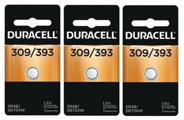 ~3~ Duracell 309 393 Button Coin Battery Silver Oxide 1.5 volt Watch Electronic - $8.78
