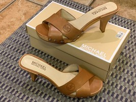 MICHAEL KORS GALA MULE PEANUT BROWN LEATHER SLIDES HEEL 8.5 M CROSS STRA... - $45.00