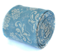 Frederick Thomas mens cotton/linen tie in Light Blue with Paisley pattern FT2074