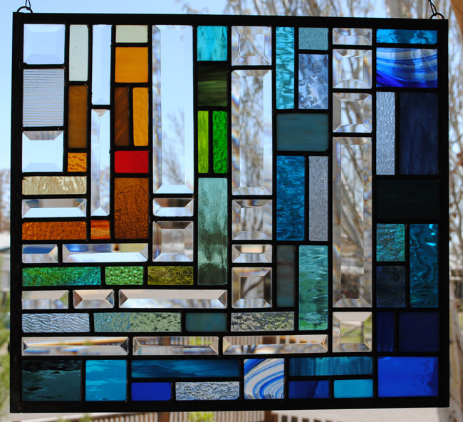 Rainbow Stained Glass Window Panel Water's Edge Abstract Jewel Colors rainbow