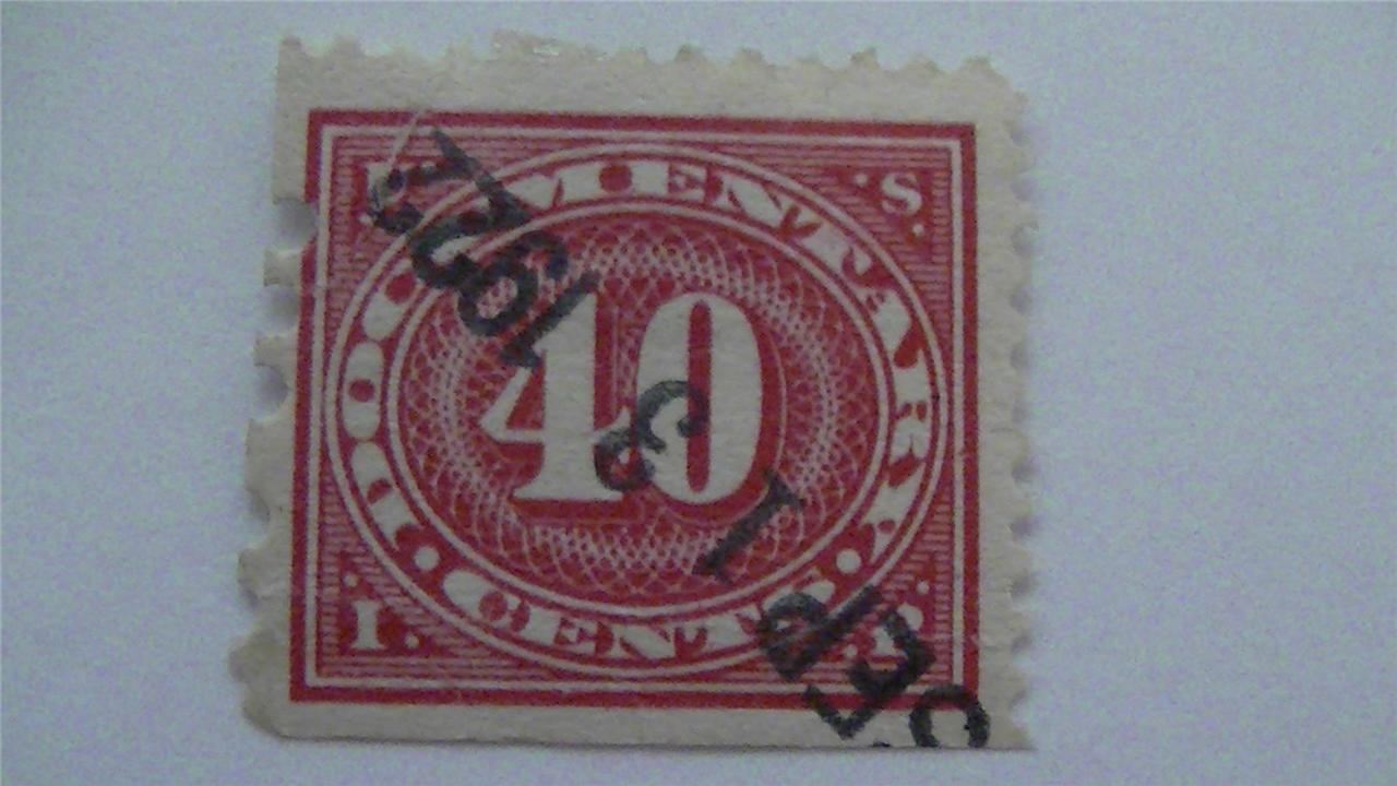 Old Large Numeral In Oval Carmine Rose USA Used 40 Cent Revenue Stamp