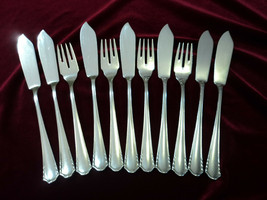 Bruckmann & Sohne 90 Silverplate Fish Knife & Fork Set Flatware Lot of 11 - $98.99