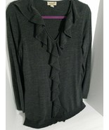 One World, Live and Let Live, gray tunic Sweater with ruffles. - $12.83