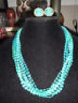 VTG Demi Parure Peacock Blue Plastic Cabochon Multi Strand Necklace/Earr... - $39.60