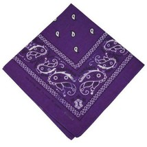 NEW MEN'S 12 PACK COTTON PAISLEY HEAD WRAP SCARF WRISTBAND BANDANA PURPLE