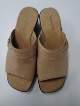 EASY SPIRIT NWOB Tan And Black Open Toe Comfortable Wedges Sz 7.5 Leathe... - $37.13