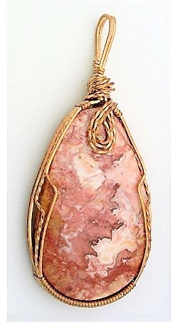 Primary image for Crazy Lace Jasper Bronze Wire Wrap Pendant 22