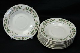 """Cambridge Holly Traditions Xmas Saucers 6"""" Lot of 8 - $34.25"""