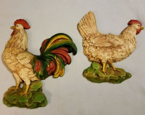 Set 2 Large Vintage Homco Wall Hanging Hen Chicken Farm Decor Primitive Country
