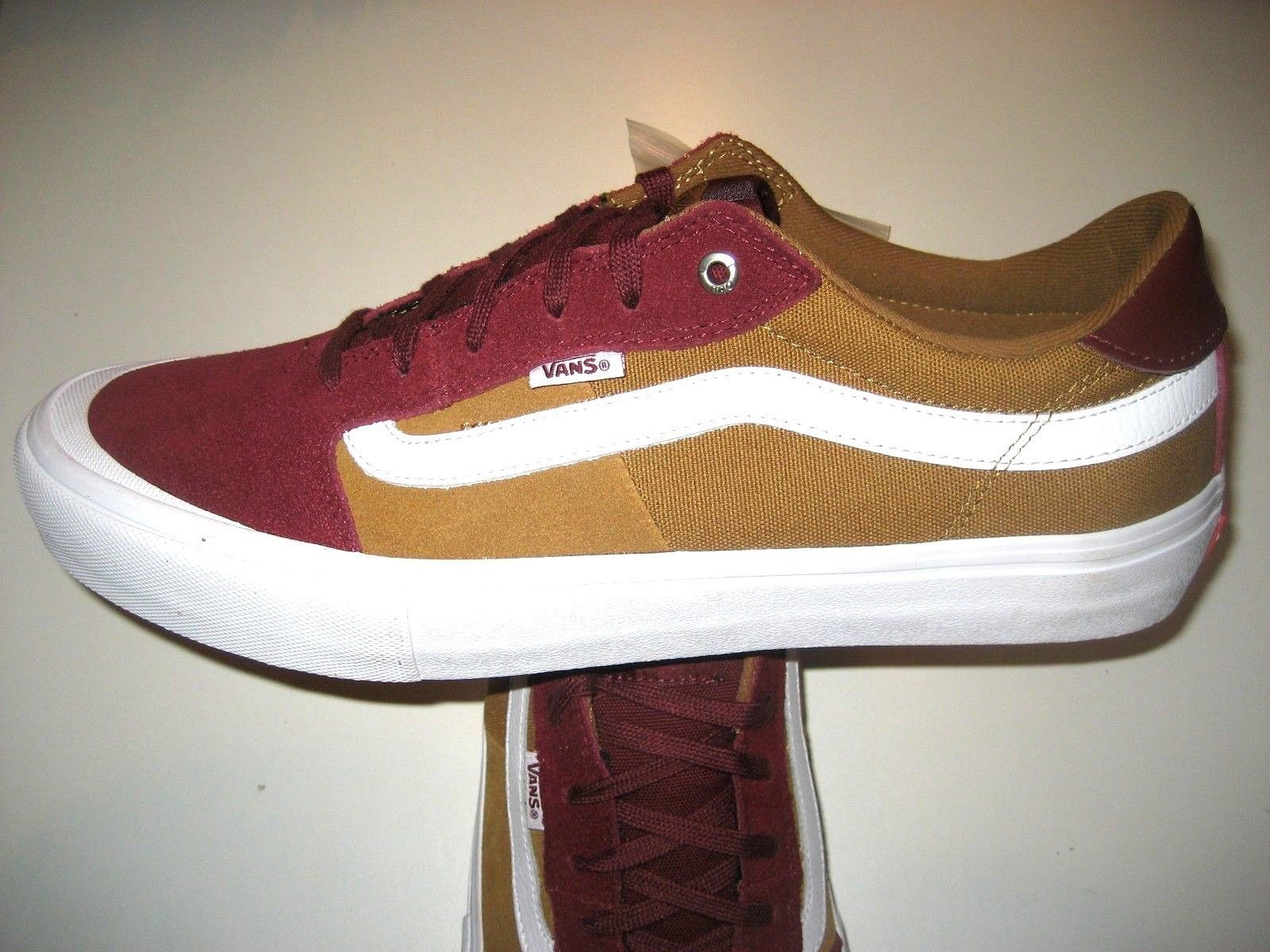 Vans Mens Style 112 Pro Burgundy Medal Bronze Skate Shoes Canvas Suede Size 12  image 2