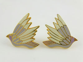 "LAUREL BURCH ""Celeste"" Birds Enamel GoldTone Clip-On EARRINGS - FREE SHI... - $25.00"