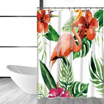 Miracille Tropical Flamingo Pattern Shower Curtain Waterproof Polyester Fabric C - $33.49