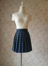 NAVY Blue PLAID Skirt Pleated Plaid Skirt School Mini Plaid Skirt US0-US16 image 4