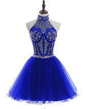 Tulle Halter Beading Homecoming Dresses Sequined Backless Prom Gowns Short 2018 - $136.67